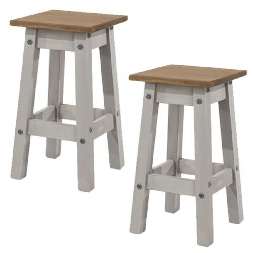 Pair of Premium Corona Grey Wash Pine Stools